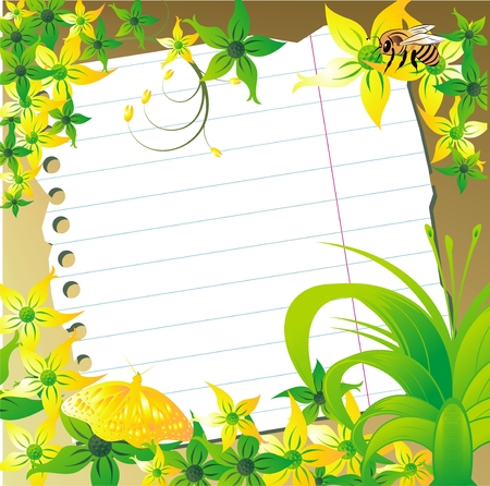 bee on white flower: Sheet of paper for notes against a vegetative ornament of the butterfly and a bee Illustration