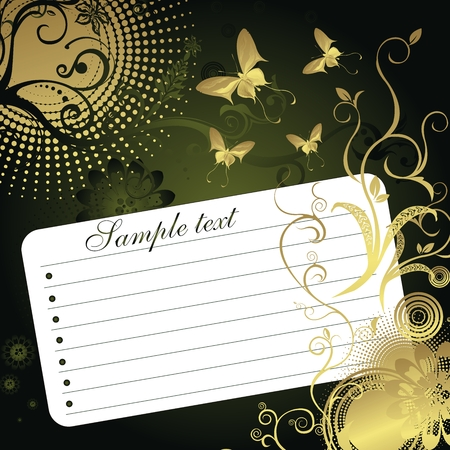 Sheet of paper for records in an environment of a vegetative ornament and butterflies on a green background Vector