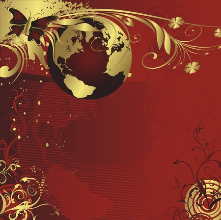 Planet the earth in an environment of a vegetative ornament and the butterfly on a red background Illustration
