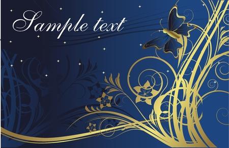 テキストのためのスペースと暗い青色の背景に金植物のシルエットに対する蝶