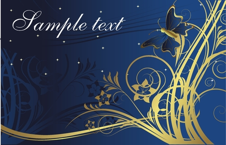 The butterfly against silhouettes of gold plants on a dark blue background with space for the text Illustration