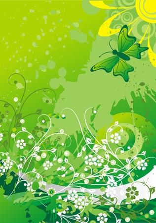 太陽の抽象的なシルエットに対する緑豊かな植生下上を飛ぶ蝶  イラスト・ベクター素材