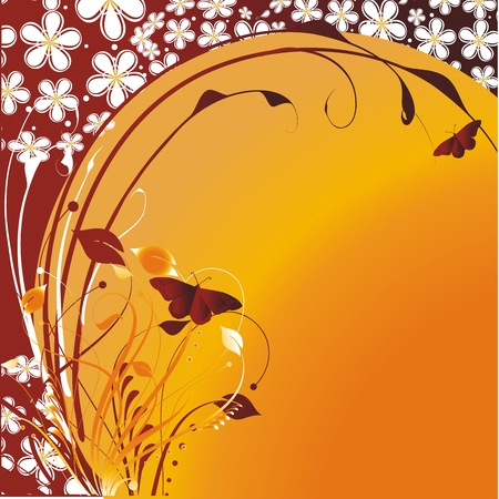 Flying butterflies on an orange background with a vegetative ornament