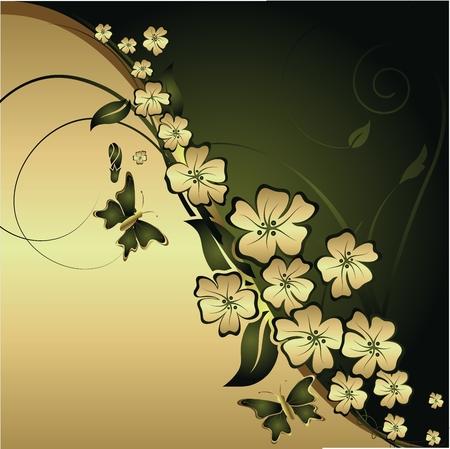 様式化された花と葉を持つ、金と緑の背景に蝶の飛翔