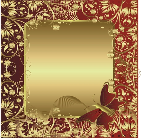 The gold stylised ornament with space for the text and the flying butterfly Vector