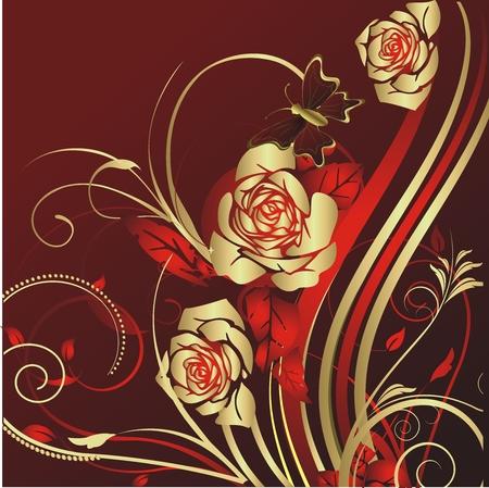 蝶の周りを飛んでで赤い背景の金バラ