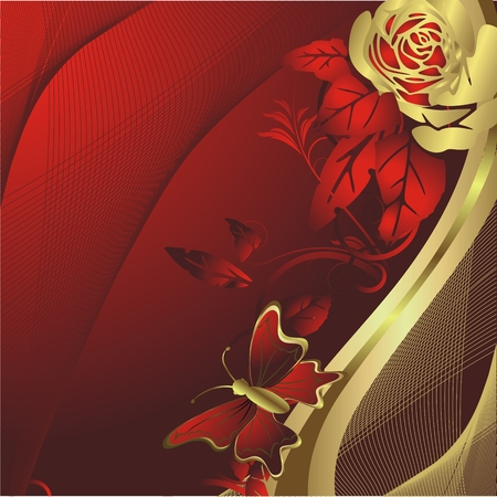 Gold roses on a red background with flying around the butterfly Vector
