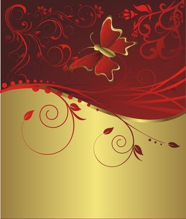 栄養の飾りとオレンジ色の背景に飛んでいる蝶  イラスト・ベクター素材