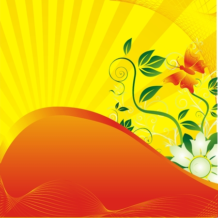 The butterfly against beams of the sun of plants and colours Vector