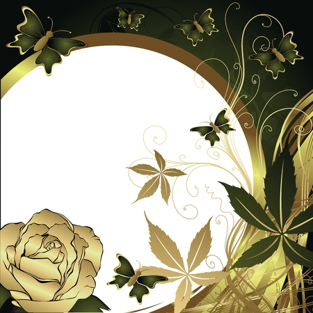 Butterflies flying against the stylised sun and a rose with space for the text