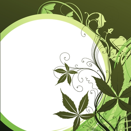 Green plants against the stylised white sun Vector