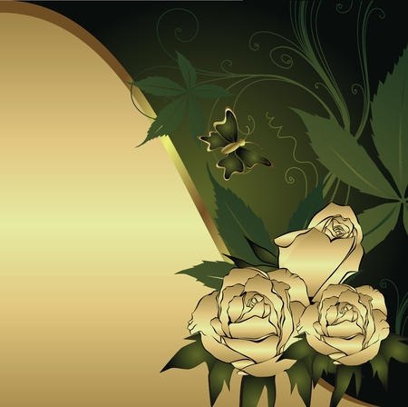 Gold rose on a gold background with a green wave and the butterfly Vector