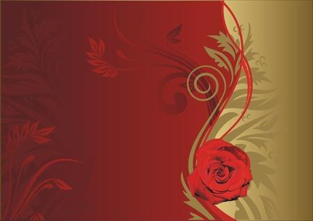 栄養飾り金と赤の背景に赤いバラ  イラスト・ベクター素材
