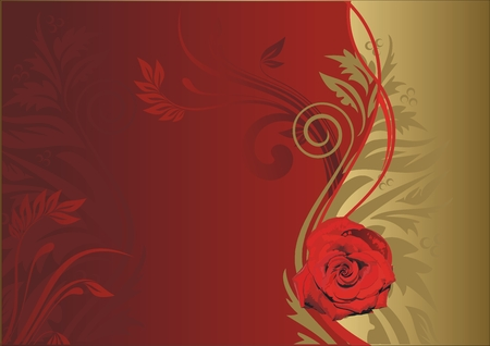 Red rose on a gold and red background with a vegetative ornament Illustration