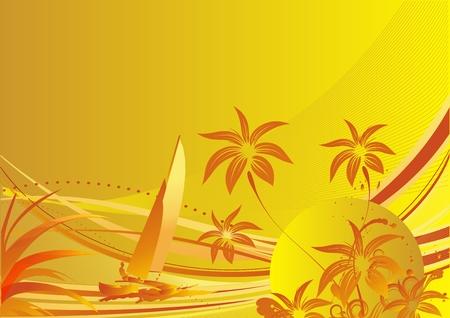 ヤシの木と太陽と波に浮かぶヨットに対する植物  イラスト・ベクター素材