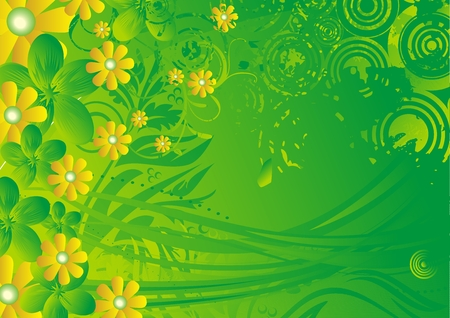 Yellow flowers with green leaves under beams of the stylised sun