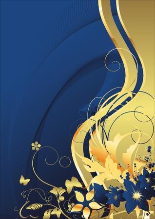 色と葉の上を飛んで様式化された蝶  イラスト・ベクター素材