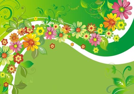 自然の緑と白い波に対する花  イラスト・ベクター素材