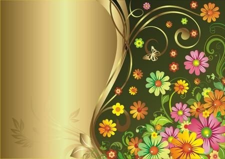 テキストの金のブロックと緑の背景の花