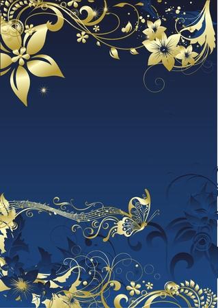 栄養飾りの環境の暗い青色の背景にメモの下で飛行金の蝶