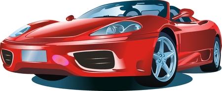 白地に赤い色の近代的な車