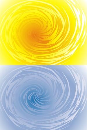 Yellow and blue swirls Vector