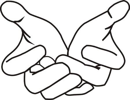 mains: Donnant des mains LineArt