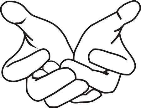 reach out: Giving Hands LineArt Illustration