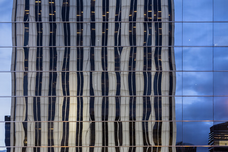Reflexion in windows of modern building