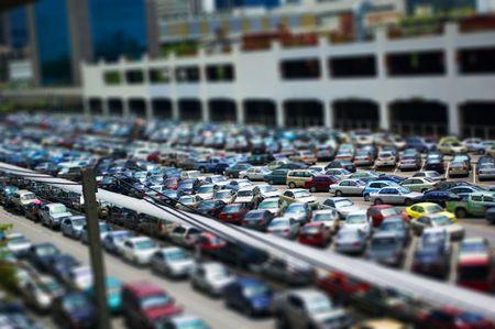 carpark: Tilt-Shift rendition of a carpark Stock Photo