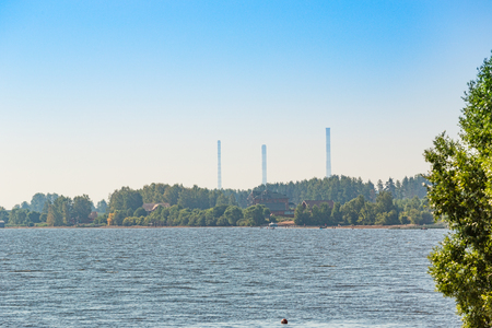 The Volga River and three hydroelectric power stations