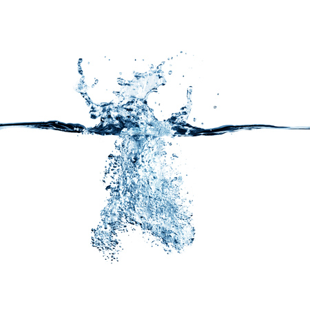 Dramatic blue water splash, water drops and air bubbles isolated on white