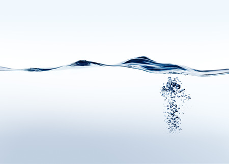 Pure fresh blue water wave with bubbles background