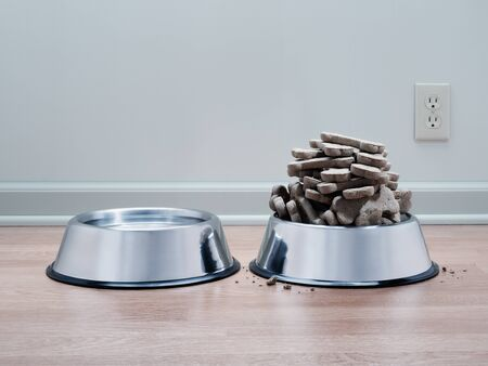 Dog biscuits heaped high for spoiled pampered obese pet. With water bowl on wood floor and cool grey background