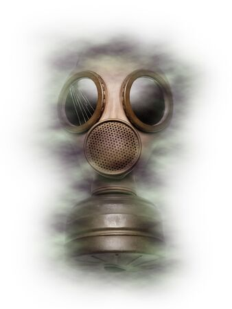 Gas mask conceptual image symbolizing protection from and fear of chemical and biological attacks warfare, and terror. 免版税图像