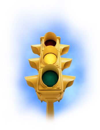 Upward view of tall vintage yellow traffic signal with yellow light on white vignette background Banco de Imagens