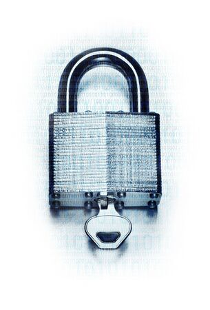 Concept digital security and encryption with binary code overlaid on steel padlock and key on fade to white background