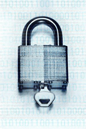 Digital security and encryption concept with binary code overlaid on steel padlock and key on scratched steel surface faded to white background