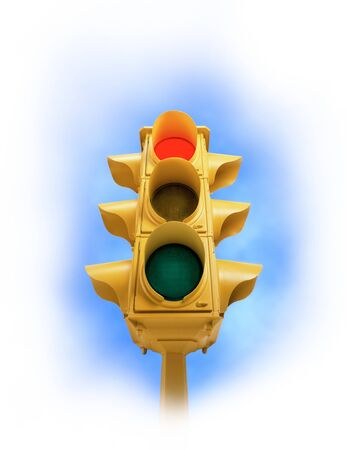 Upward view of tall vintage yellow traffic signal with red light on white vignette background