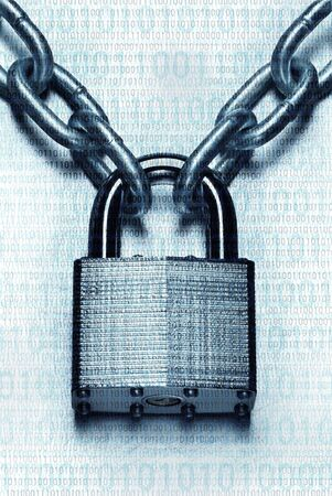 Impenetrable digital security and encryption concept showing binary code overlaid on chain with steel padlock on scratched steel surface Banco de Imagens