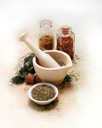 Vintage mortar and pestle with spices and herbs on white canvas table cloth Reklamní fotografie