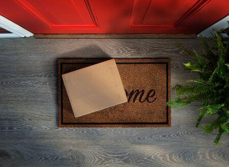Acquisto e-commerce consegnato alla porta d'ingresso. Vista dall'alto. Aggiungi la tua etichetta Archivio Fotografico