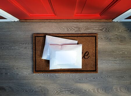 Padded envelopes delivered to door step. Overhead view. Add your own copy Banco de Imagens