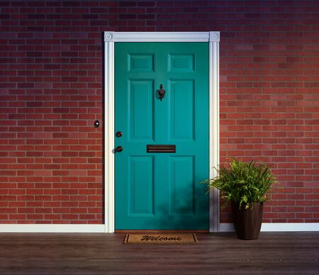 Inviting blue front door with welcome mat and potted fern plant