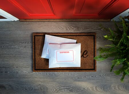 Express service envelopes delivered to door step. Overhead view. Copy space