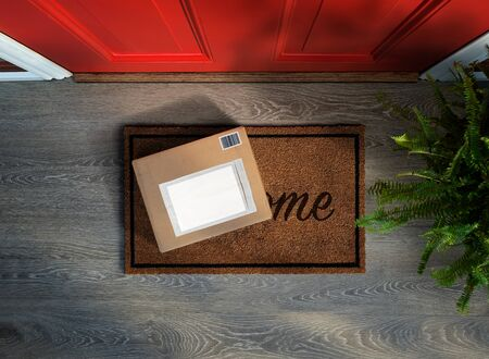 E-commerce purchase outside the door. Overhead view. Add your own copy and label