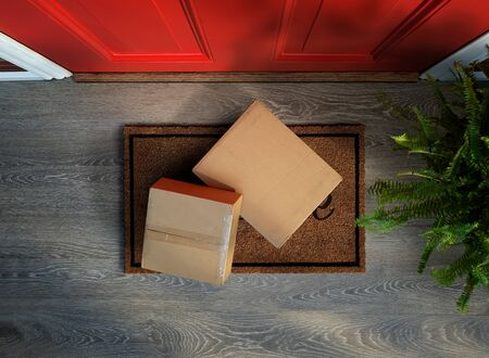 Delivered to the door, online purchases on doormat risk theft. Add your own labels Banco de Imagens