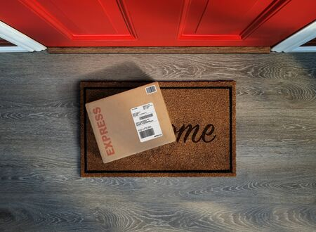 Rush delivery, online purchase outside the front door. Overhead view. Stock Photo