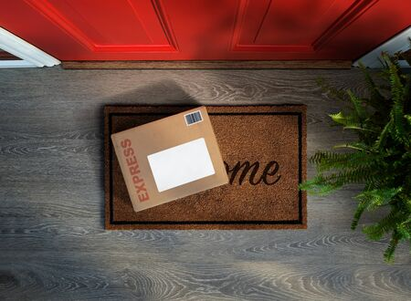 Express parcel delivery outside front door. Overhead view. Add your own copy Reklamní fotografie