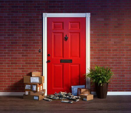 Wohnungseingangstür mit Stapeln gelieferter Kartons und Zeitungen; Besitzer nicht zu Hause